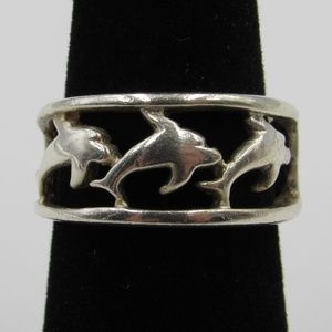 Vintage Size 6 Sterling Rustic Dolphin Animal Ring